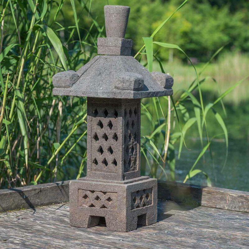 WANDA COLLECTION Lampe japonaise en pierre de lave 75cm