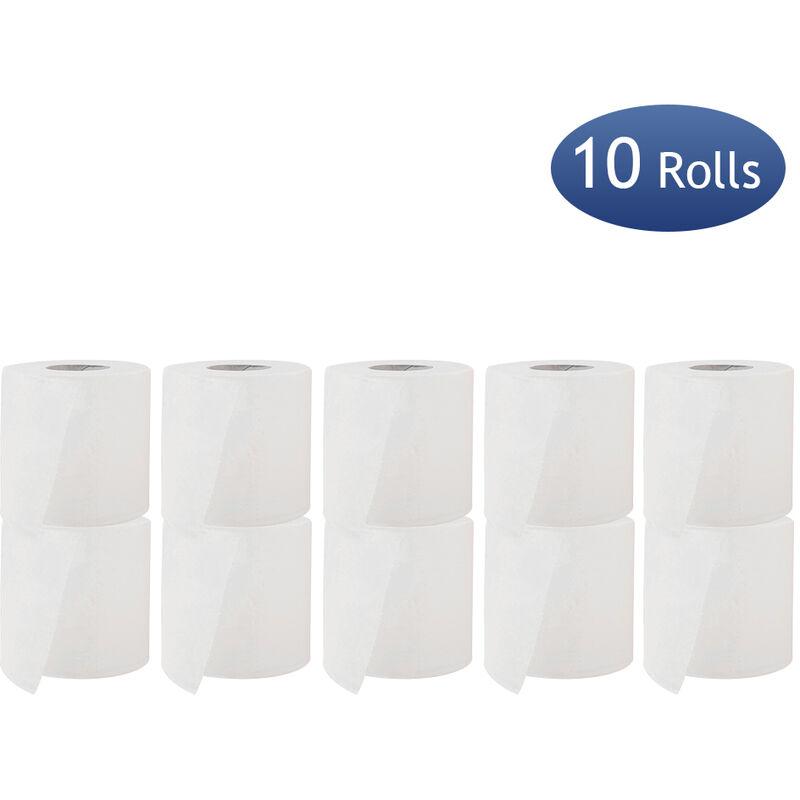 HAPPYSHOPPING 10 rouleaux de papier hygienique en rouleau de papier de salle de bain 3 couches 240 sections de pate a papier en bois doux et confortables pour le