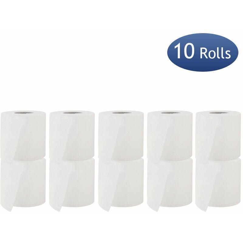 Happyshopping - 10 rouleaux de papier toilette rouleau de papier essuie-tout 3 couches 180 sections de pate a papier en bois doux et confortable pour