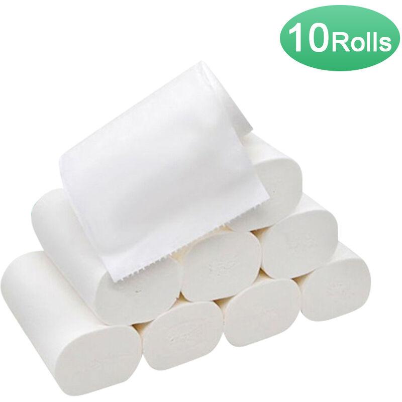 HAPPYSHOPPING 10 rouleaux de papier toilette rouleau de papier essuie-tout 3 couches de pulpe de bois doux et confortables papiers de cuisine pour bureau a