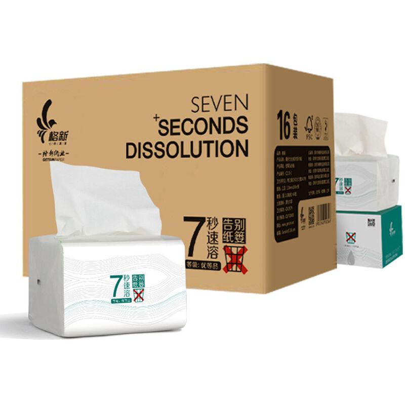 Happyshopping - 16 paquets d'essuie-tout a 3 couches a plis multiples Essuie-tout en papier hygienique Papier hygienique a dissolution rapide Doux et