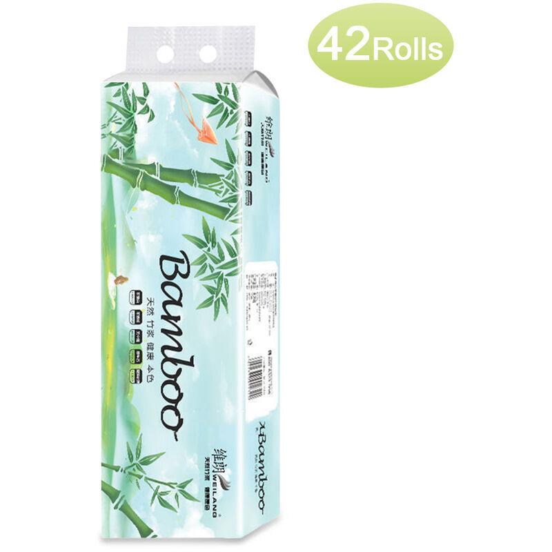 Happyshopping - 42 rouleaux 4 couches d'essuie-tout sans noyau Essuie-tout pour salle de bain Burlywood Papier toilette abordable Doux et resistant
