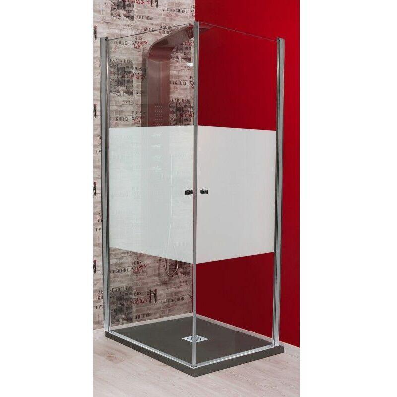 Degeo - Porte pivotante accès d'anglet 90x90cm motif givré Frisco - Transparent