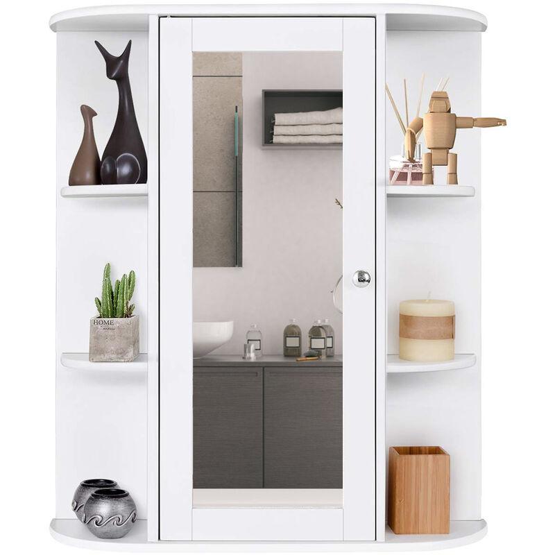 DAZHOM Armoire de toilette de salle de bain 60 * 17 * 58cm Armoire de toilette de rangement à trois couches à une porte