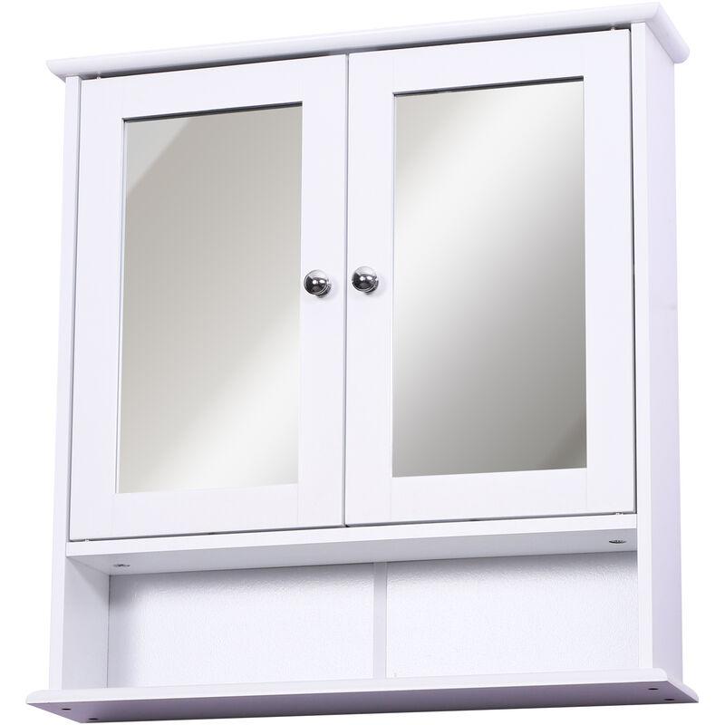Homcom - Armoire murale étagère salle de bain 56L x 13l x 58H cm double porte miroir étagère réglable MDF blanc - Blanc