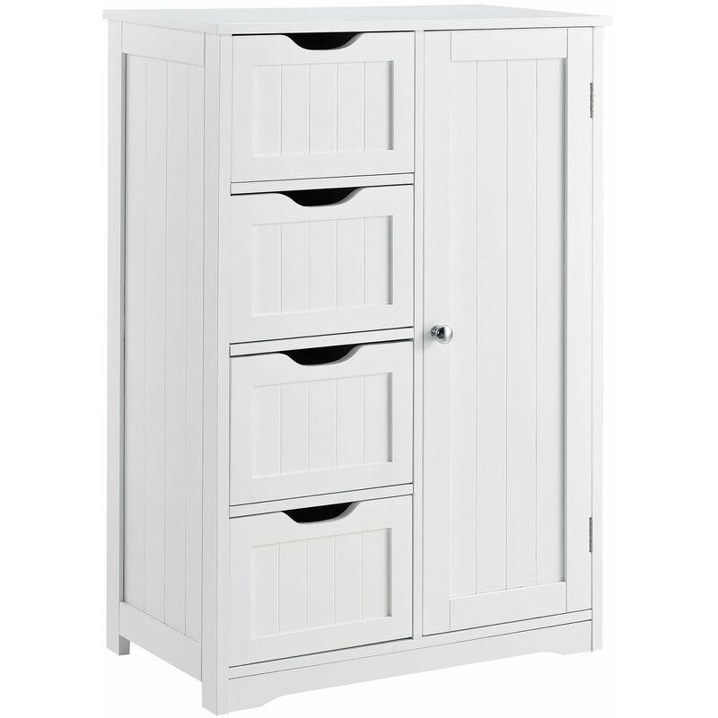 HELLOSHOP26 Armoire étagère commode de salle de bain meuble de rangement MDF laqué 81 cm Blanc - Blanc