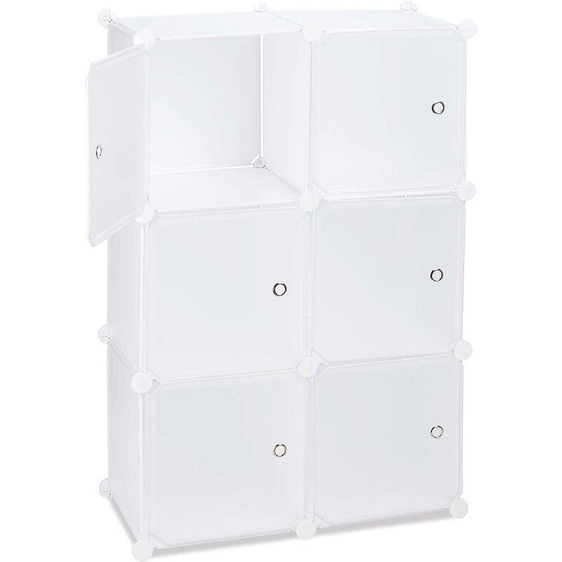 HELLOSHOP26 Armoire étagère de rangement meuble avec 6 portes blanc - Blanc