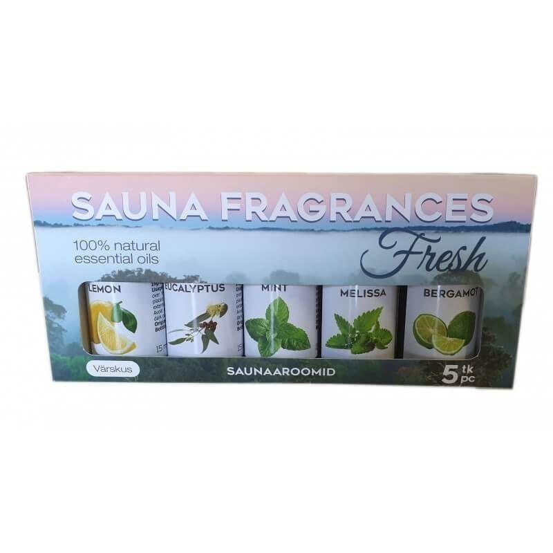 Desineo - Pack de 5 huiles essentielles 100% pour Sauna Fresh (5 x 15 ml)