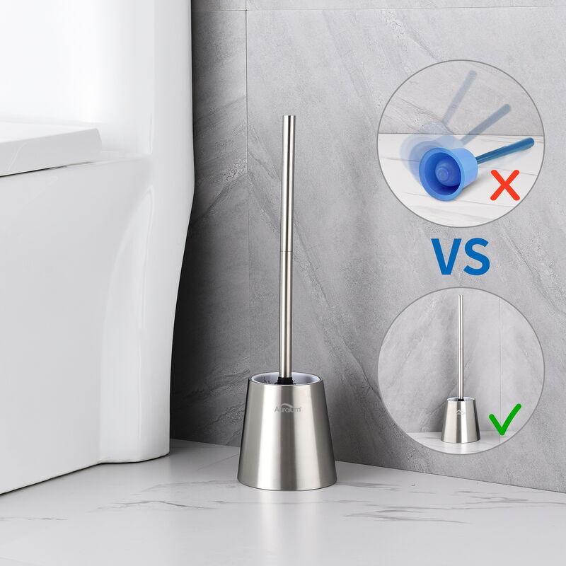 AURALUM Brosse WC INOX 304 Brosse de Toilette avec Porte-balai WC Vertical Nettoyage 360° Anti-odeur Traitement de surface brossé