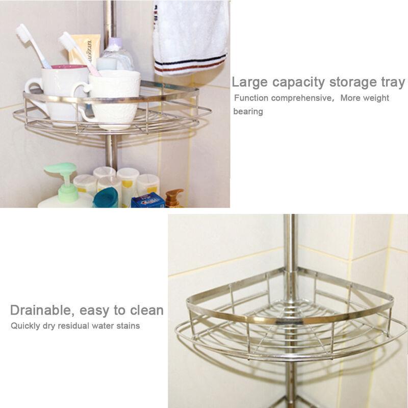 BATHRINS®Étagère de salle de bain 4 couches en acier inoxydable, 110-280 cm rétractable