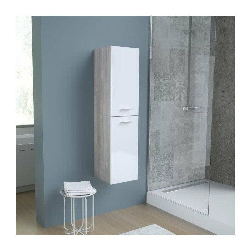 BENTO Colonne de salle de bain L 30 cm - Blanc et chene