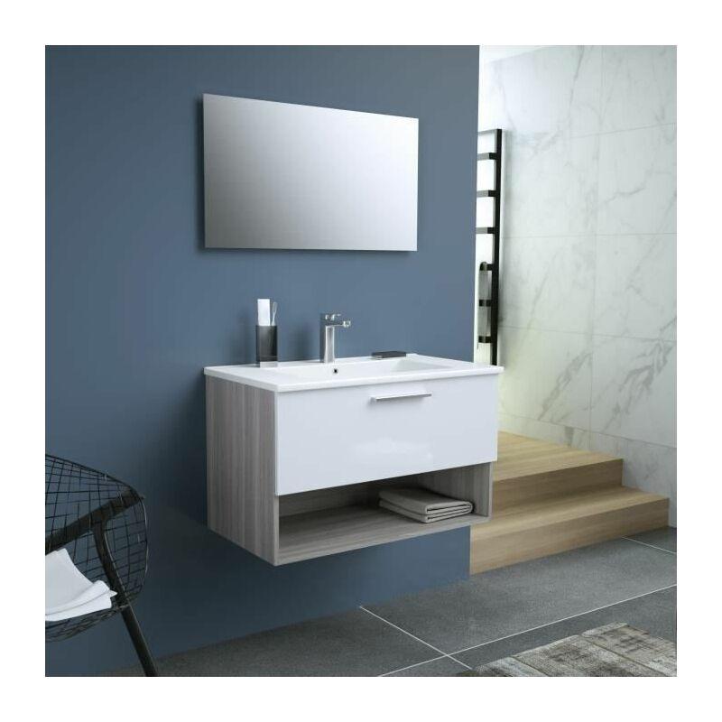 BENTO Salle de bain simple vasque + miroir L 80 cm - 1 tiroir a fermeture ralentie - Blanc