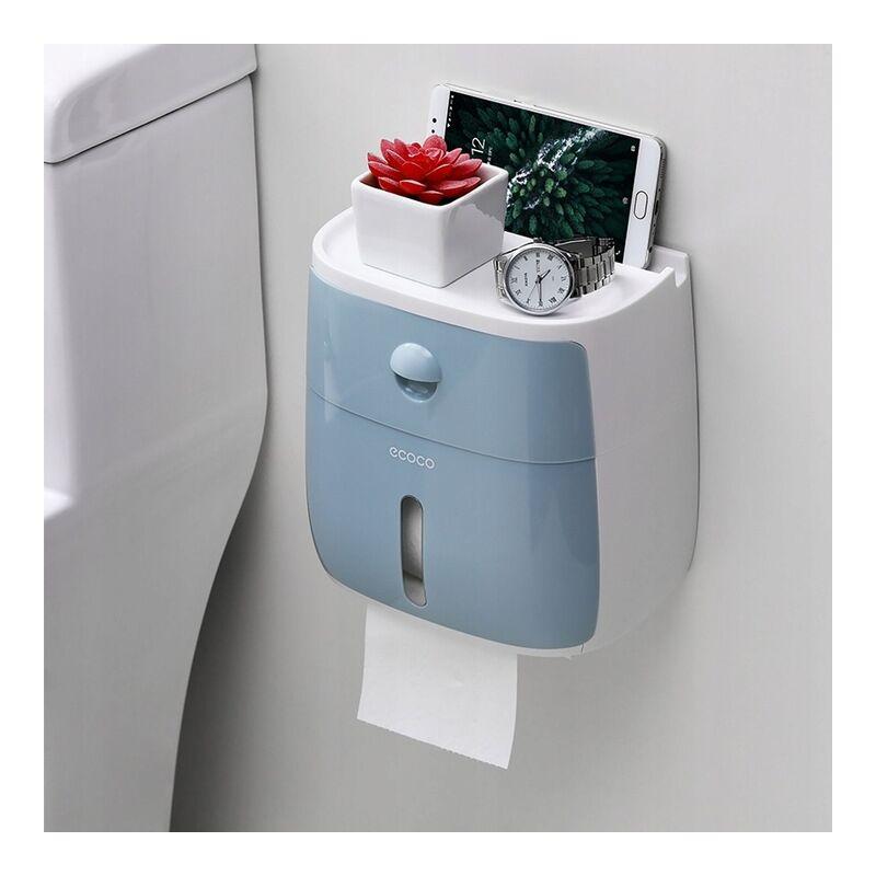Betterlife Support mural de salle de bain 4 en 1 support de boîte à mouchoirs double couche bleu=