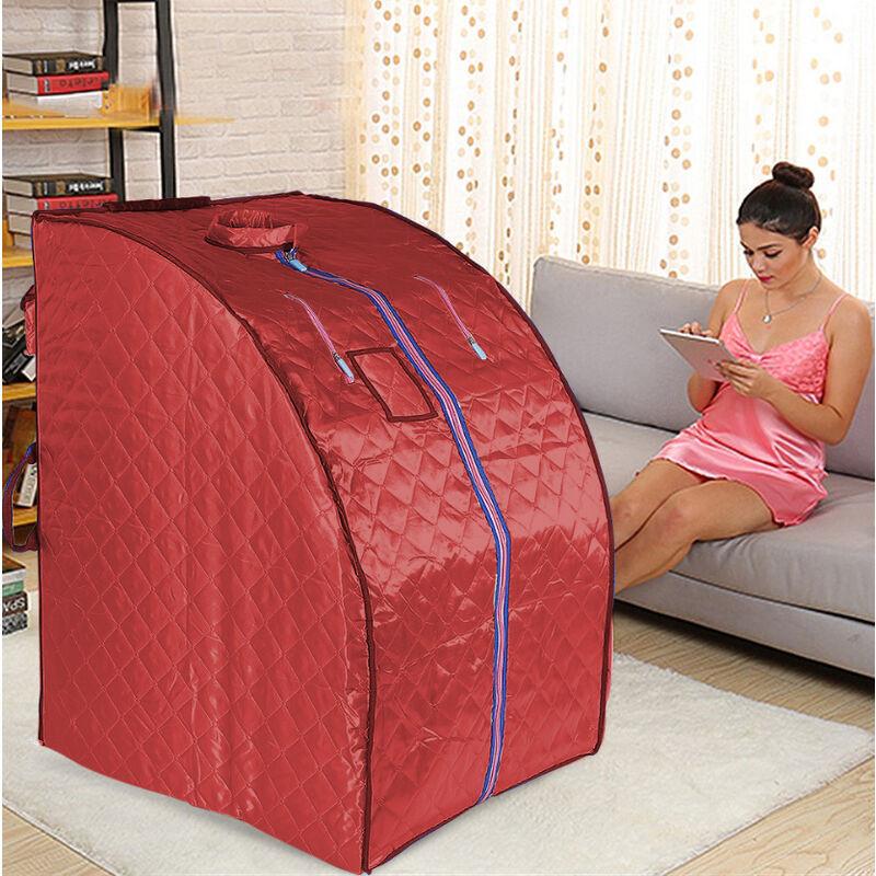 Oobest - Boîte de sauna portable infrarouge - Spa à Domicile pour une Personne - Idéal pour la Désintoxication et la Perte de Poids - Rouge - Rouge