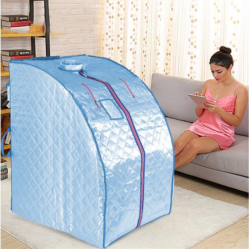 Oobest - Boîte de sauna portable infrarouge - Spa à Domicile pour une Personne - Idéal pour la Désintoxication et la Perte de Poids - Bleu - Bleu