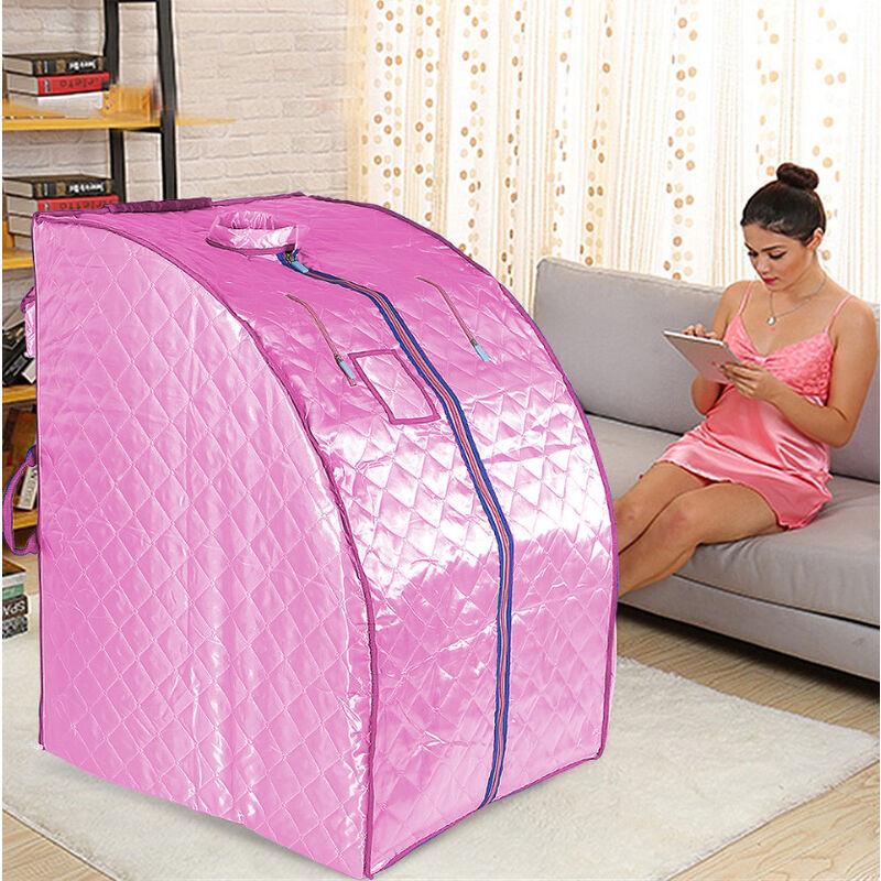 Oobest - Boîte de sauna portable infrarouge - Spa à Domicile pour une Personne - Idéal pour la Désintoxication et la Perte de Poids - Rose - Rose