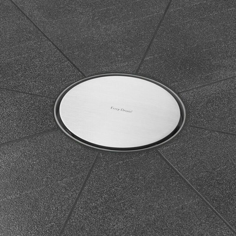 EASY-DRAIN Bonde de sol avec grille inox satiné. Grille design ronde diamètre 146 mm (code AquaW-RDx15-MSI6+E2F)