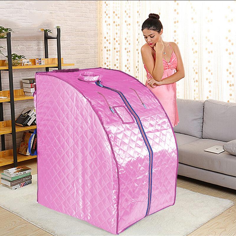 SKECTEN Boîte de sauna portable infrarouge - Spa à Domicile pour une Personne - Idéal pour la Désintoxication et la Perte de Poids - Rose