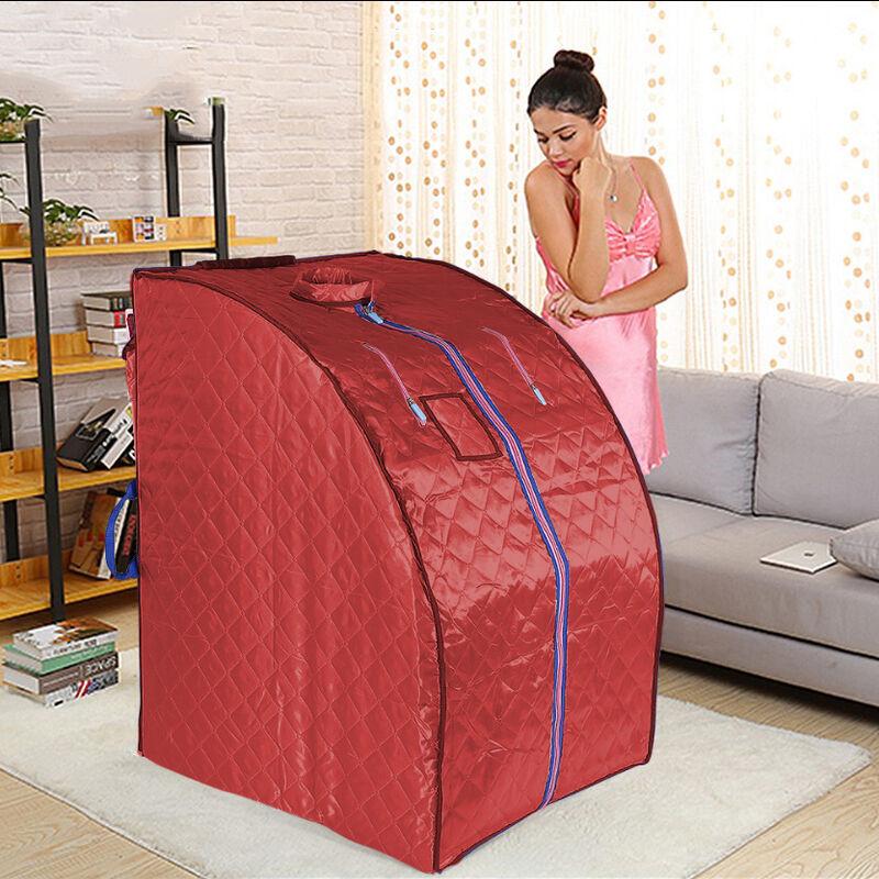 SKECTEN Boîte de sauna portable infrarouge - Spa à Domicile pour une Personne - Idéal pour la Désintoxication et la Perte de Poids - Rouge