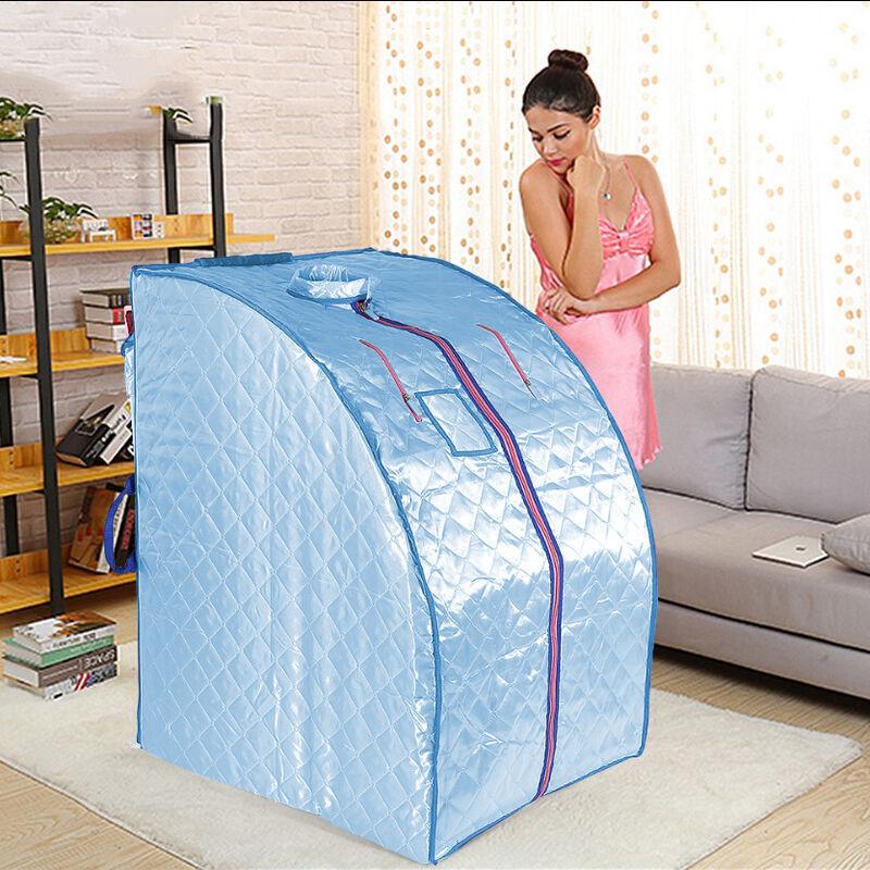 SKECTEN Boîte de sauna portable infrarouge - Spa à Domicile pour une Personne - Idéal pour la Désintoxication et la Perte de Poids - Bleu