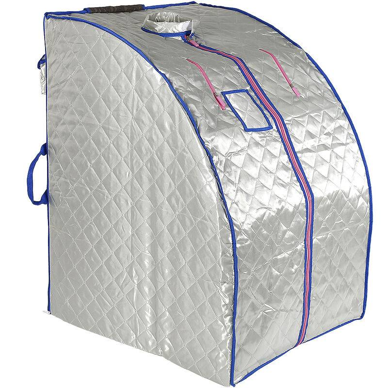 YONGQING Boîte de sauna portable infrarouge - Spa à Domicile pour une Personne - Idéal pour la Désintoxication et la Perte de Poids - Argent - Argent