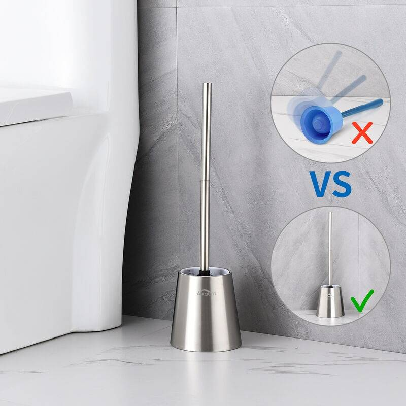 Auralum - Brosse WC INOX 304 Brosse de Toilette avec Porte-balai WC Vertical Nettoyage 360° Anti-odeur Traitement de surface brossé POUR Toilette
