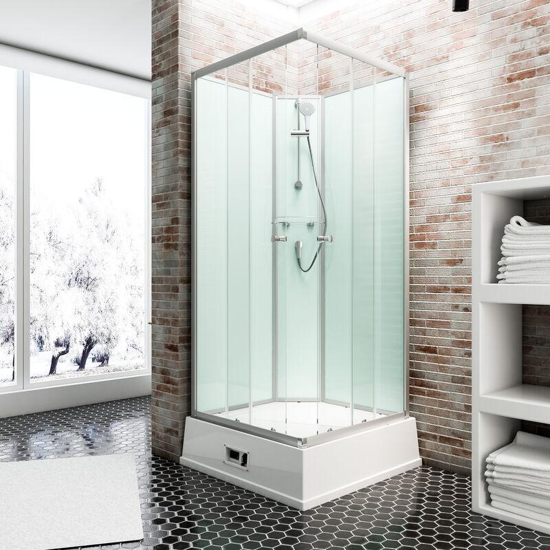 SCHULTE Cabine de douche intégrale avec chauffe-eau, 94 x 110 x 215 cm, verre de sécurité, Korfu II Schulte cabine de douche complète, vert d'eau
