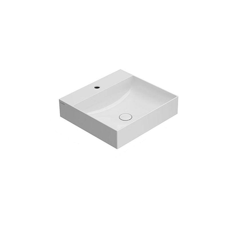 CERAMICA GLOBO T-Edge - Lavabo à poser/suspendu 500x470 mm, en céramique blanc brillant (code B6R51BI) Produit émaillé avec CERASLIDE® qui permet une plus grande