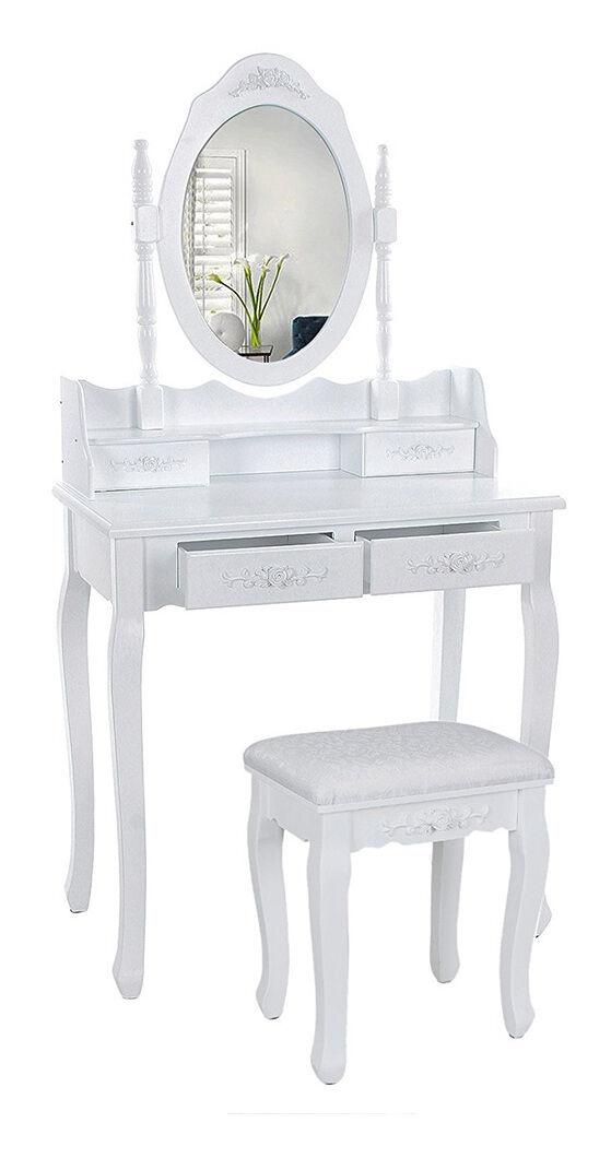 JEOBEST®Coiffeuse cosmétique avec miroir et tabouret,4 tiroirs, pour chambre à coucher
