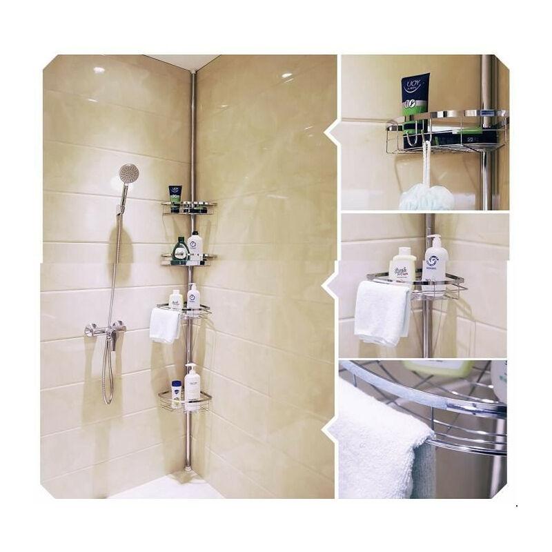DazHom®ètagère 4 couches installation libre 110-280cm installation libre rétractable salle de bain en acier inoxydable étagère 4 couches