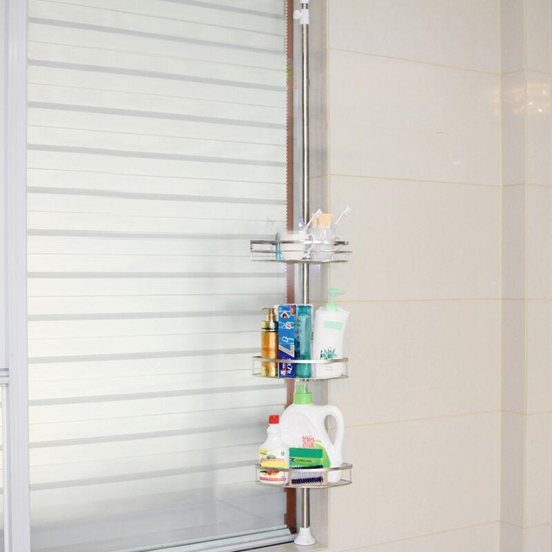 DazHom®Etagère de salle de bain en acier inoxydable, 3 couches, hauteur réglable 110-280cm