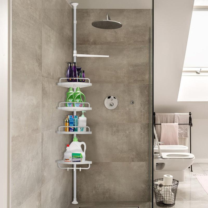 DazHom®Etagère de salle de bain en acier inoxydable 4 couches (plateau en plastique) ?L254-304cm