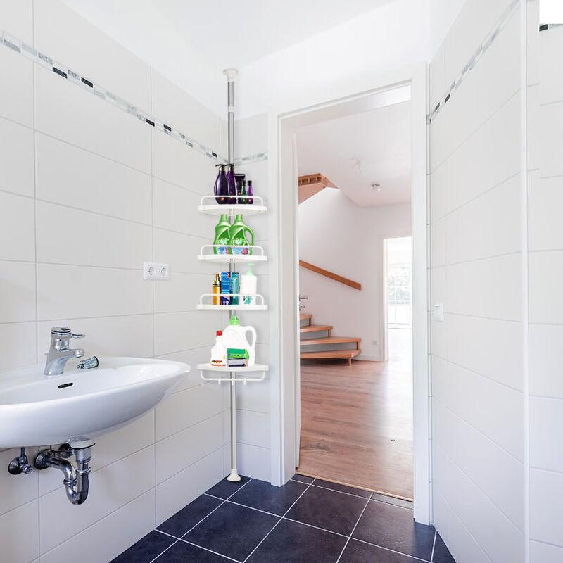 DazHom®ètagère triangulaire de salle de bain 254-304 cm ?tagère triangulaire de salle de bain en acier inoxydable à 4 couches sans installation
