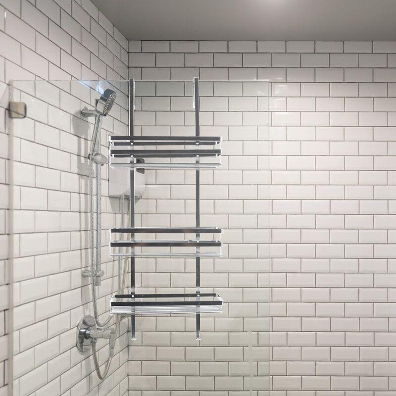 DazHom®Support de salle de bain suspendu à installation gratuite Support de salle de bain suspendu à trois couches en acier inoxydable