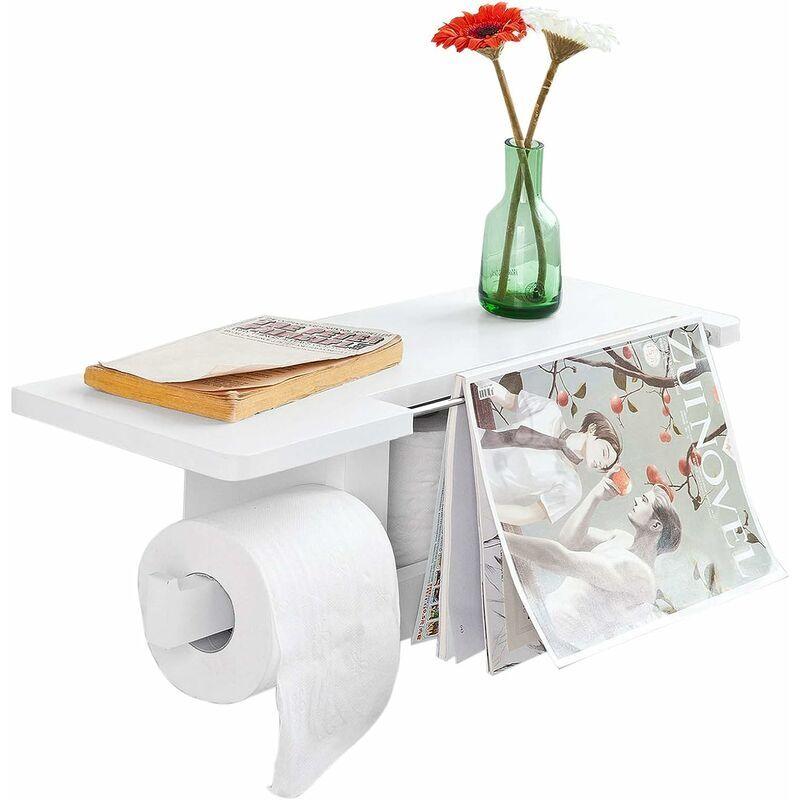 Sobuy - Dérouleur Papier Toilette - Distributeur WC Porte Papier mural avec support pour déposer Smartphone et porte-revues- Blanc FRG175-W ®