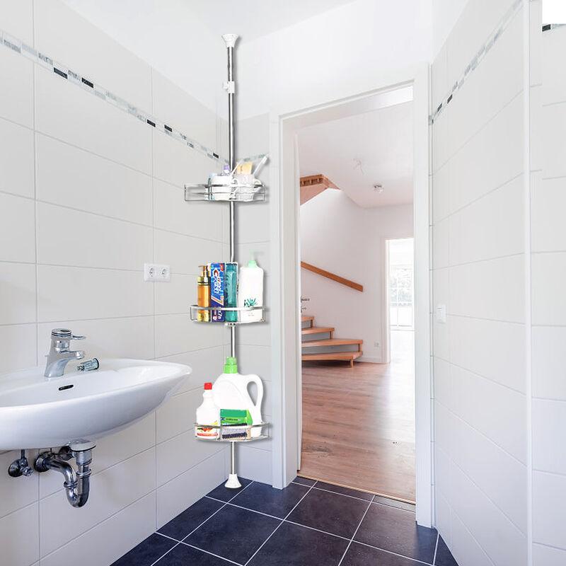 DAZHOM Étagère 3 couches installation libre 110-280 cm installation libre rétractable salle de bain en acier inoxydable étagère 3 couches