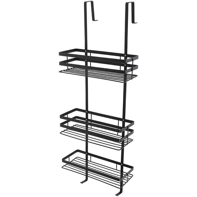 Dazhom - Étagère de salle de bain suspendue étagère de salle de bain suspendue à trois couches en acier inoxydable noir sans installation