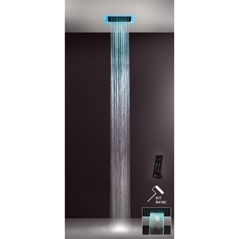 GESSI Afilo, système de douche encastré multifonctionnel 300x300 jets de pluie, surge, avec effet de luminothérapie , 57307279 - 57307279 - Gessi