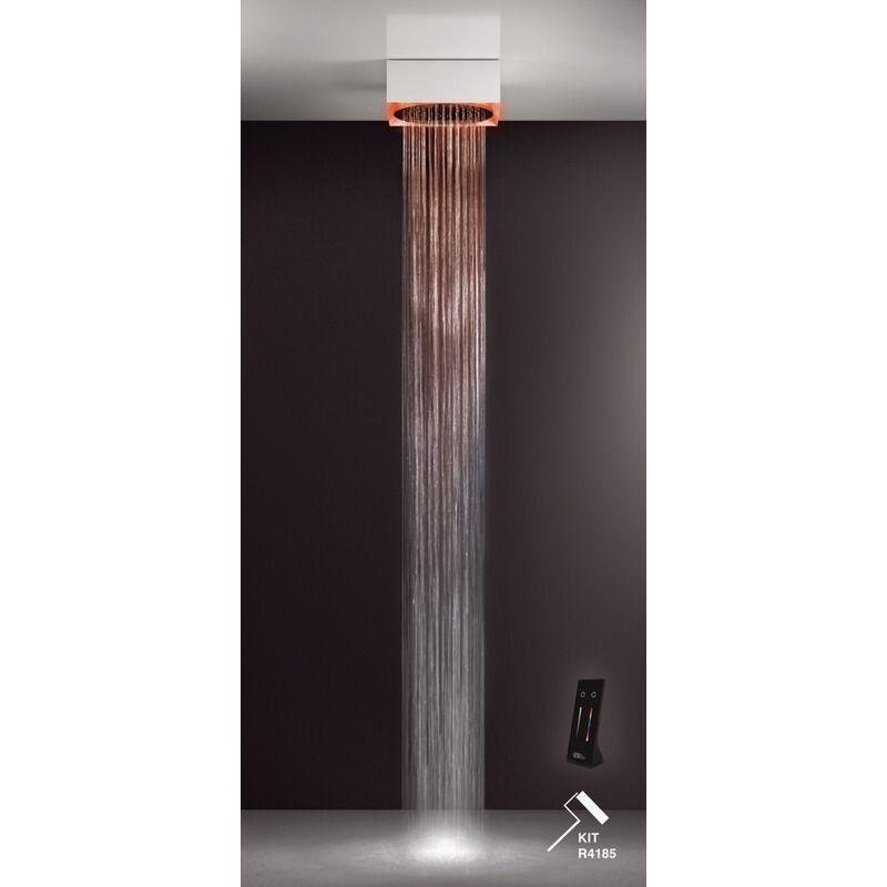 GESSI Afilo, système de douche encastré multifonctionnel 395x395 avec douche de tête ronde D355 à jet de pluie, avec effet de luminothérapie, 57603279