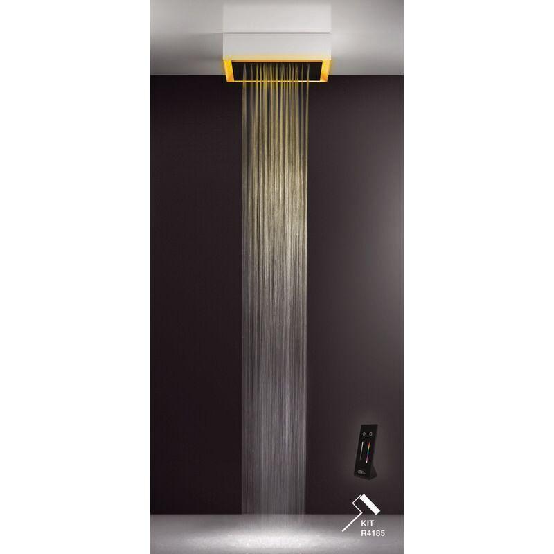 GESSI Afilo, système de douche encastré multifonctionnel 500x500 Jet de pluie, avec effet de luminothérapie couleur, 57503279 - 57503279 - Gessi