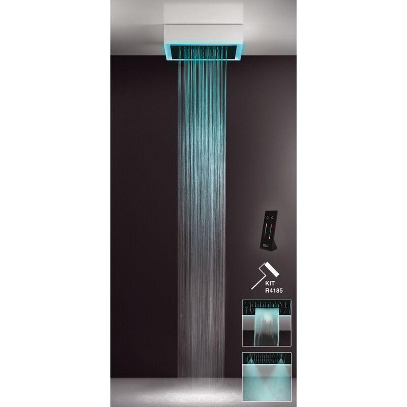 GESSI Afilo, système de douche intégré multifonctionnel 500x500 types de jets : pluie, surtension, brume avec effet de luminothérapie, 57511279 - 57511279
