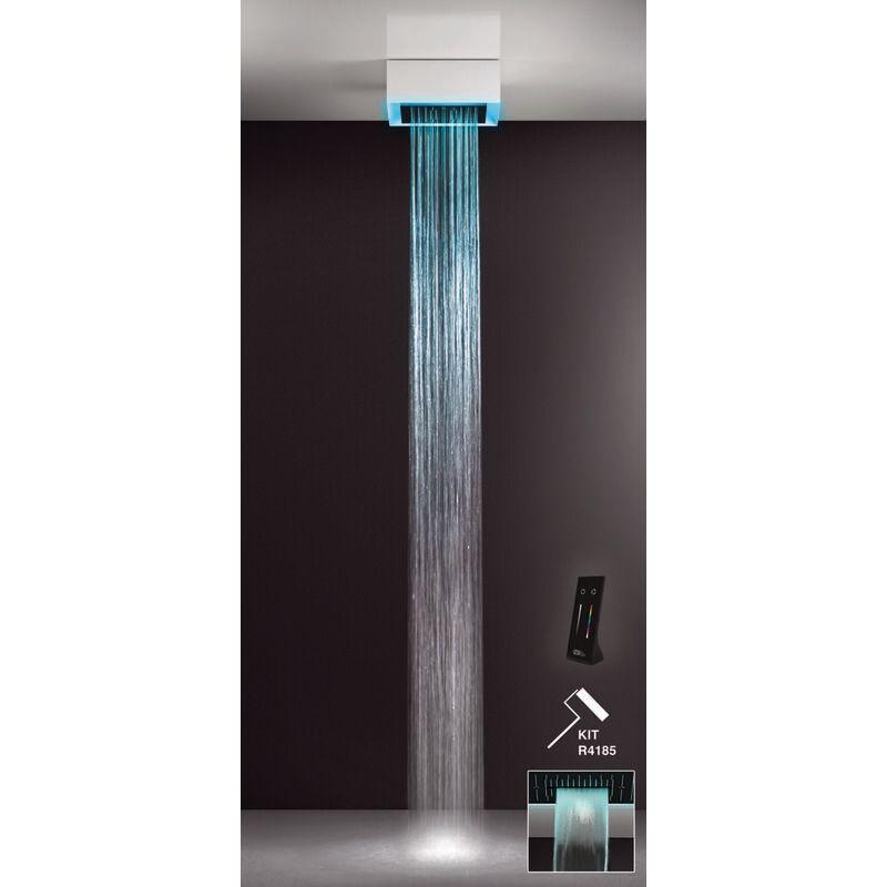 GESSI Afilo, système de douche multifonctionnel 300x300 avec jet de pluie, surge, avec effet de luminothérapie, 57401279 - 57401279 - Gessi
