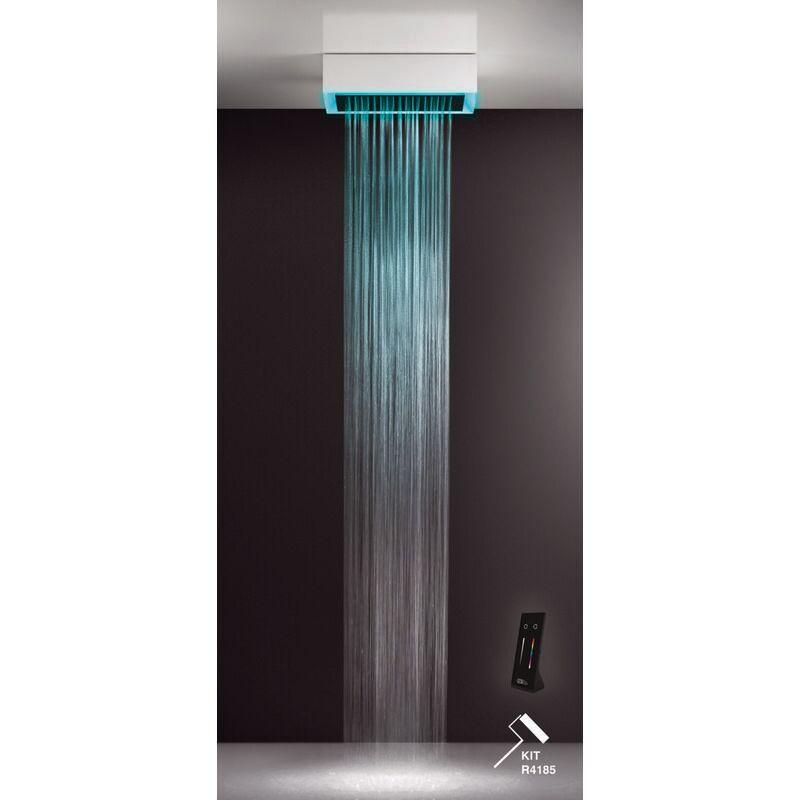 GESSI Afilo, système de douche multifonctionnel 300x500 à jet de pluie, avec effet de luminothérapie, 57409279 - 57409279 - Gessi