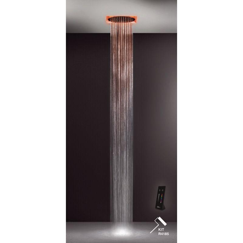 GESSI Afilo, système de douche multifonctionnel 500x500 avec jet de type pluie, surge, brume et effet de luminothérapie, 57601279 - 57601279 - Gessi