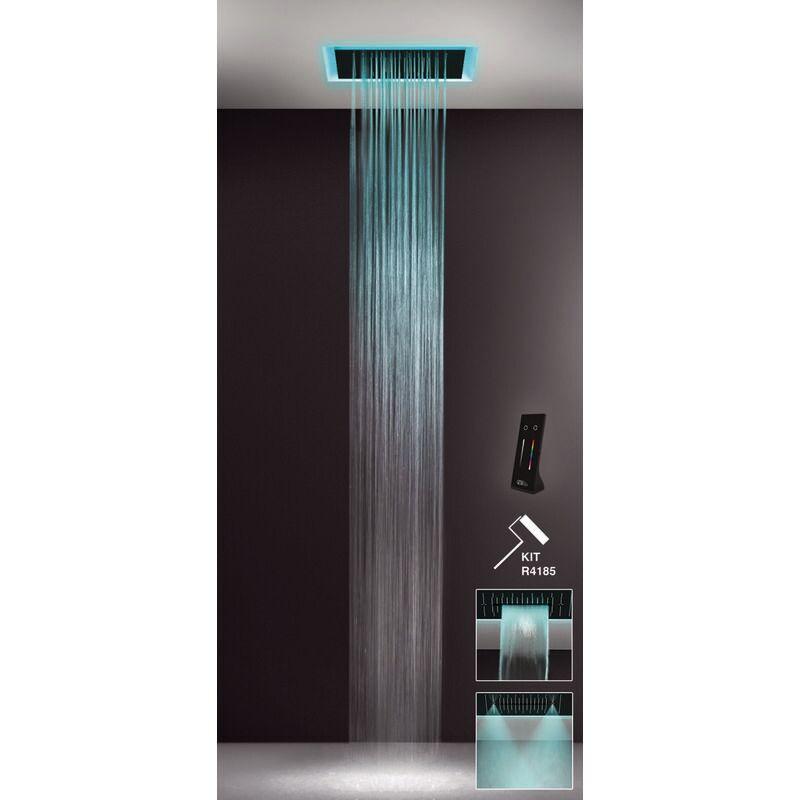 GESSI Afilo, système de douche multifonctionnel 500x500 à jet pluie, avec effet de luminothérapie, 57509279 - 57509279 - Gessi