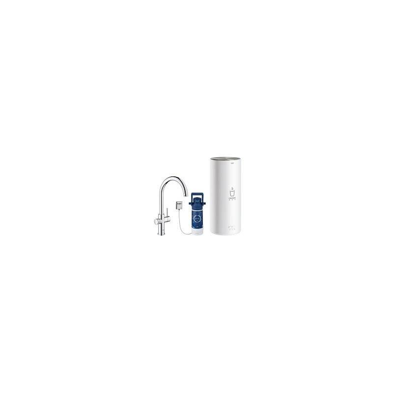 GROHE Robinet Red Duo et chauffe-eau taille L, C- bec verseur, Coloris: chrome - 30079001 - Grohe