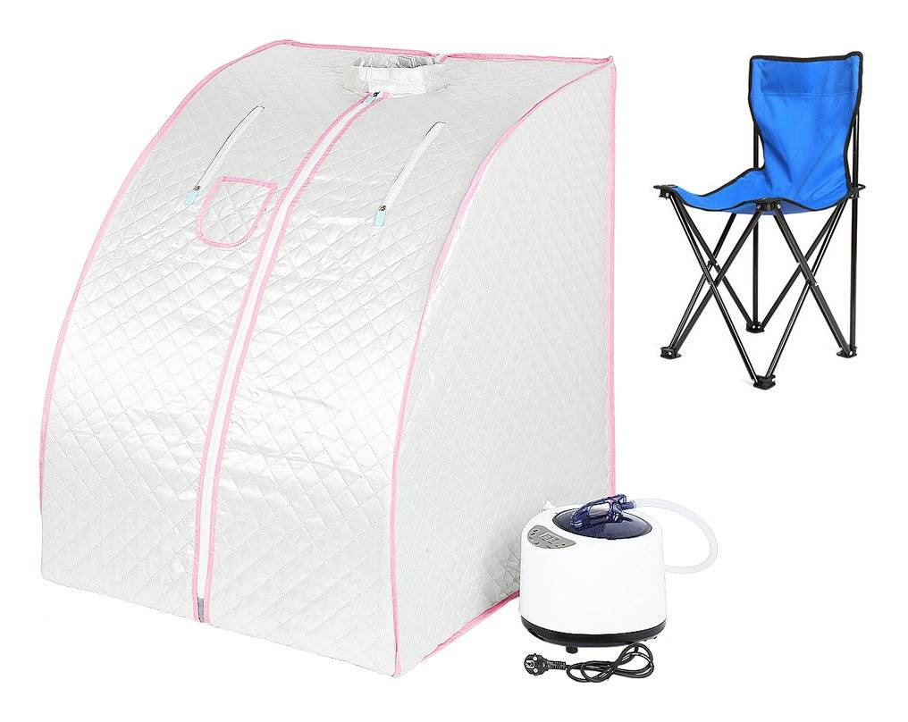 JEOBEST ®Sauna Box Bain de Vapeur mobile Spa Pliable Ménage à Vapeur Télécommande Température Argenté 220V - Jeobest