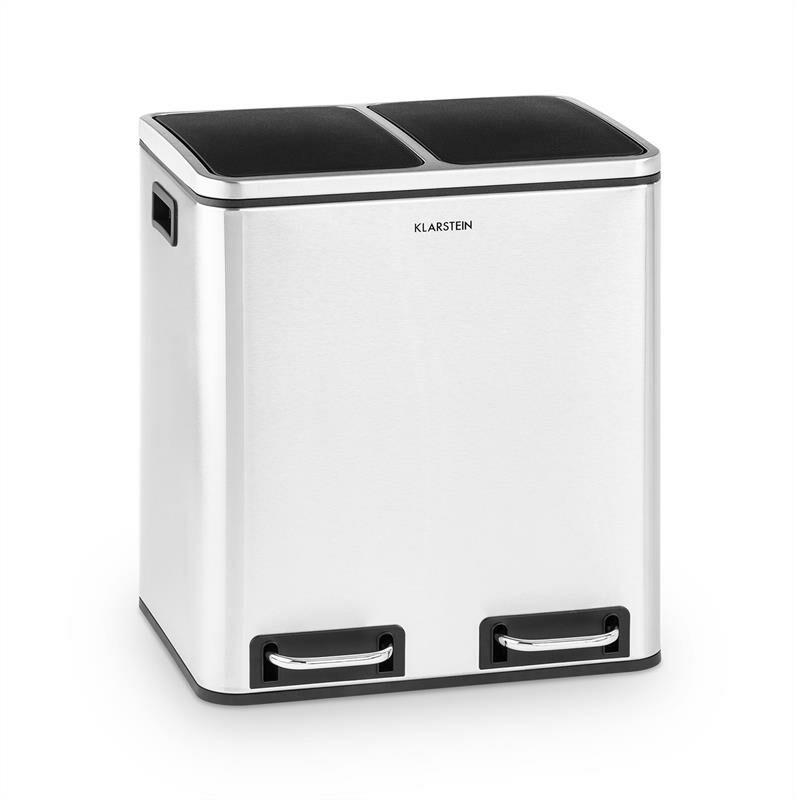KLARSTEIN Trash Gordon poubelle à pédale 30 L / 2x15 L silencieuse PP inox brossé