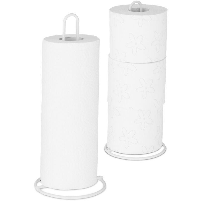 Relaxdays - Lot de 2 supports à sopalin, sur pieds, pour le sopalin et papier-toilette, métal, élégant, 32x13 cm, blanc