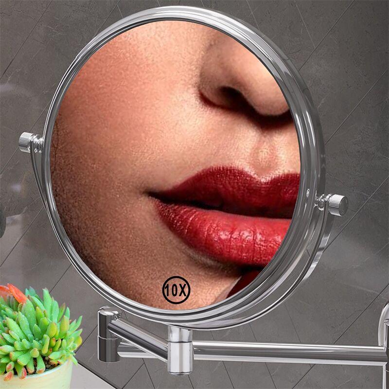 Melko Miroir cosmétique Miroir mural 10 fois miroir de maquillage Miroir de salle de bain grossissant 20cm